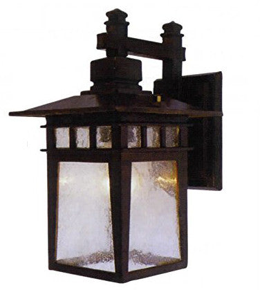 Black Wall Lantern Cast Aluminum Exterior Clear Seeded - LT7