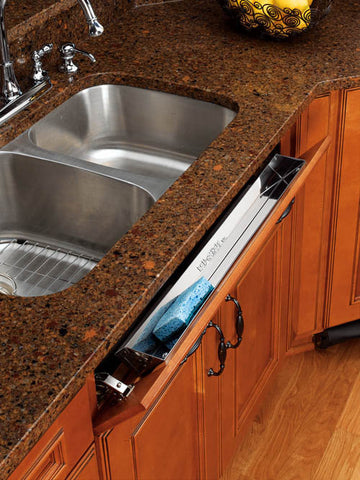 "Stainless Steel 25"" Sink Front Tip-Out Tray - CAB1"