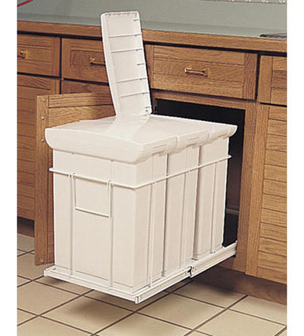 Triple 20 Qt. Bin Roll-Out Recycle Center w/ Lid - CAB1