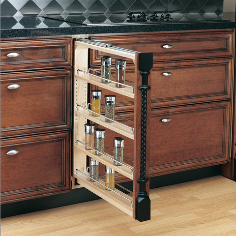Rev-A-Shelf 4-Tier Wood Pull Out Cabinet Spice Rack - CAB1
