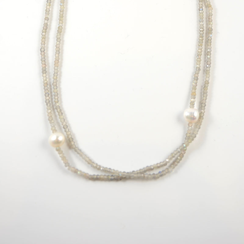 Double Strand Pearl & Labradorite Necklace