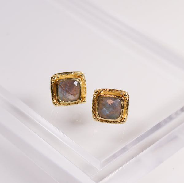 Etruscan Stud Earrings - Labradorite