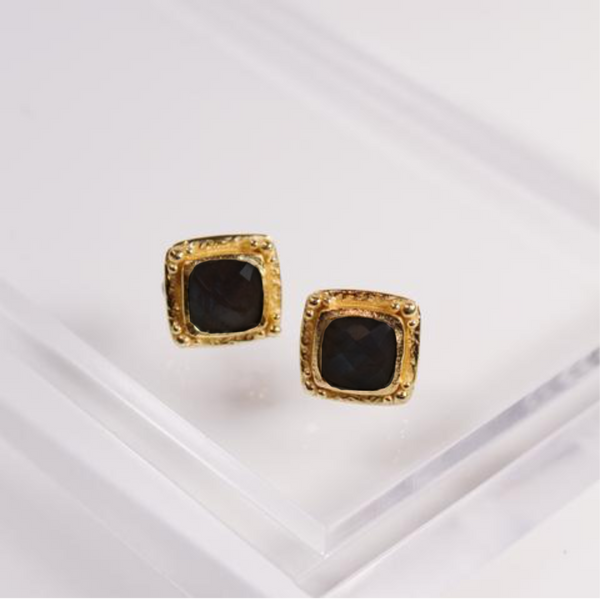 Etruscan Stud Earrings - Black Onyx