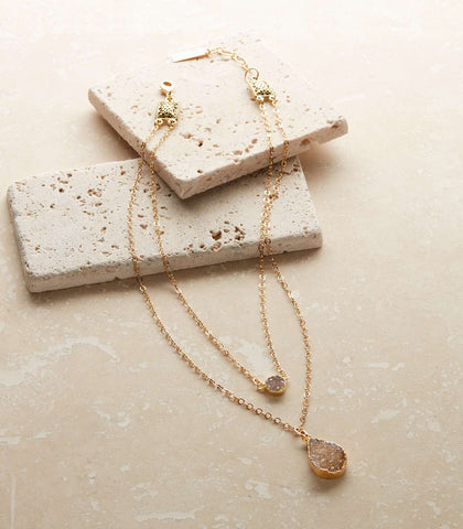 Teardrop Druzy Layered Necklace