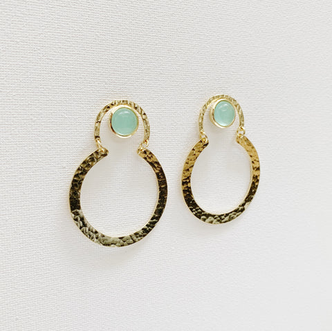 Helen Earrings - Aqua Chalcedony