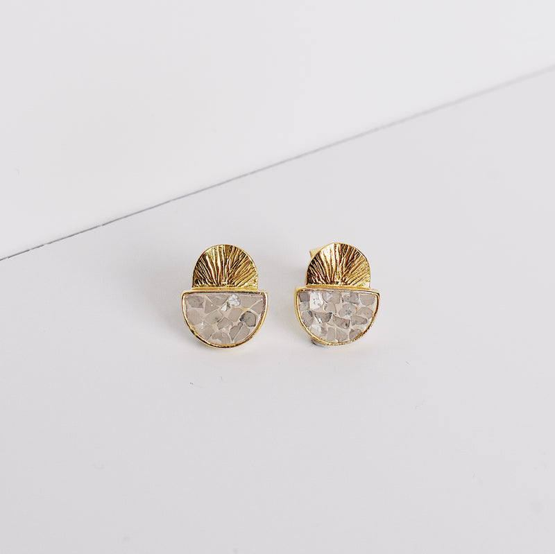 Laine Stud Earrings - White Deco Diamond