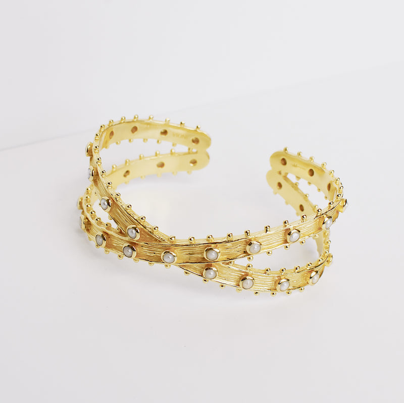 Etruscan Double Cuff - Pearl