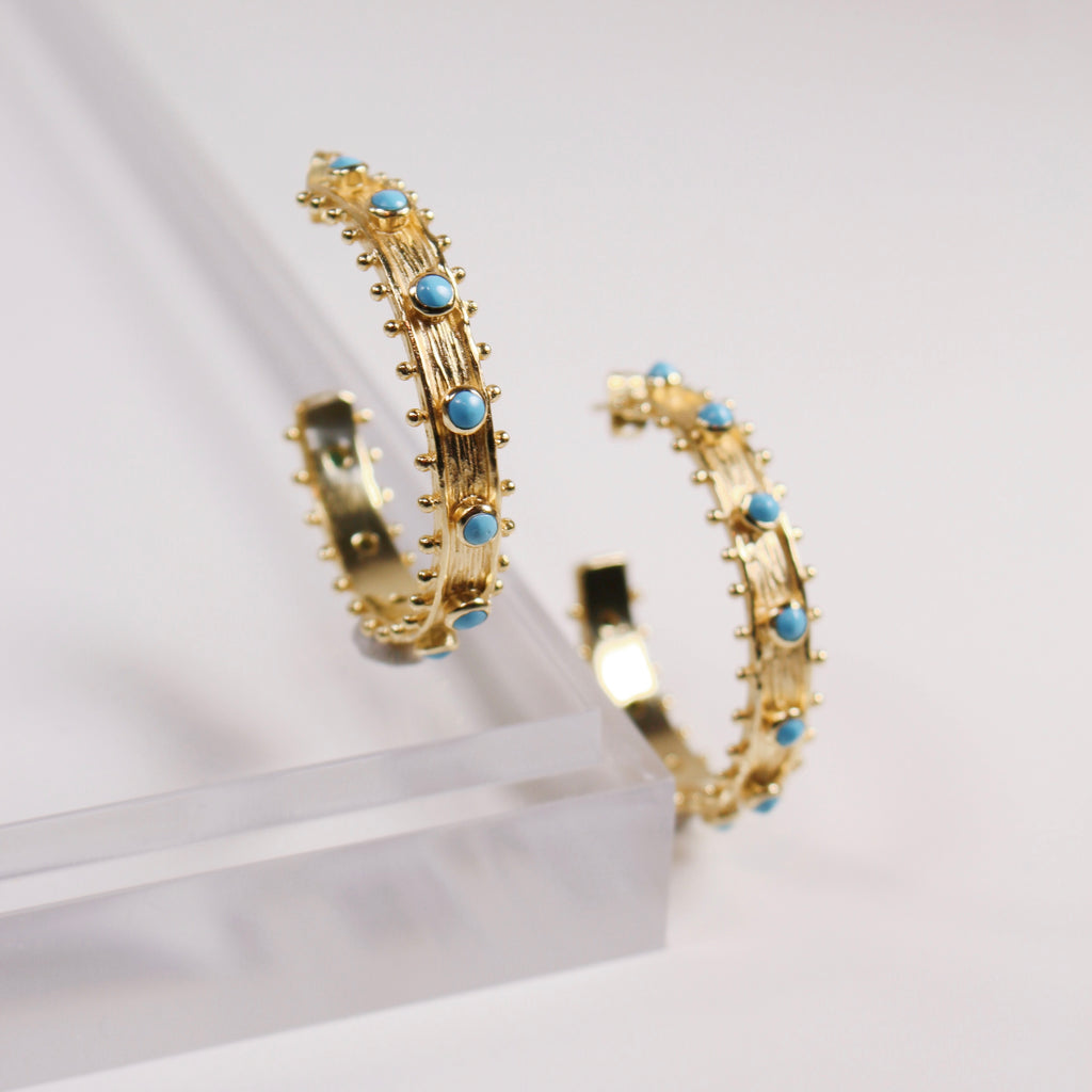 Etruscan Hoop Earrings - Turquoise