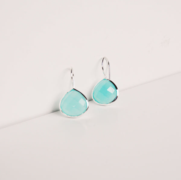 Turks and Caicos Earring - Aqua Chalcedony/Silver
