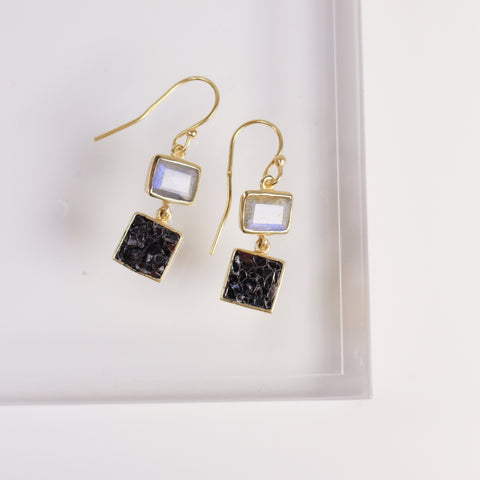 Lara Earrings - Black Deco Diamond