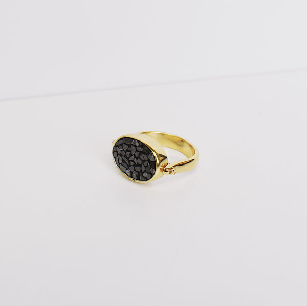 Deco Diamond Ring (Oval) - Black
