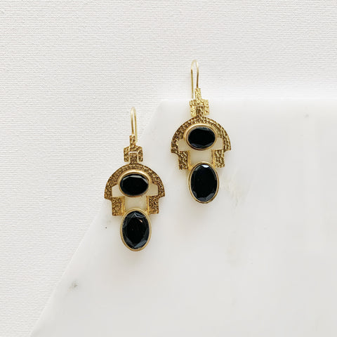 Stevie Earrings - Black Onyx