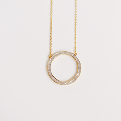 Deco Diamond Circle Necklace - White