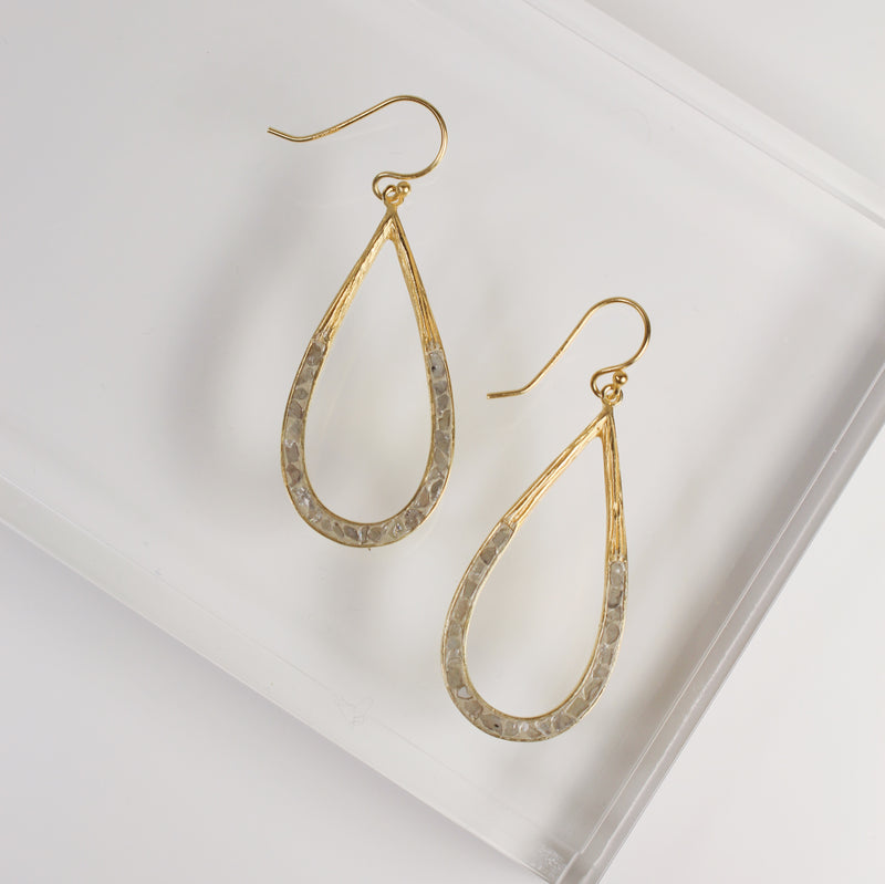 Deco Diamond Teardrop Earrings - White