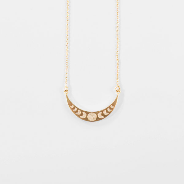 NEW! Deco Diamond Lunar Phases Necklace - White