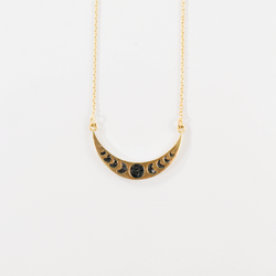 NEW! Deco Diamond Lunar Phases Necklace - Black