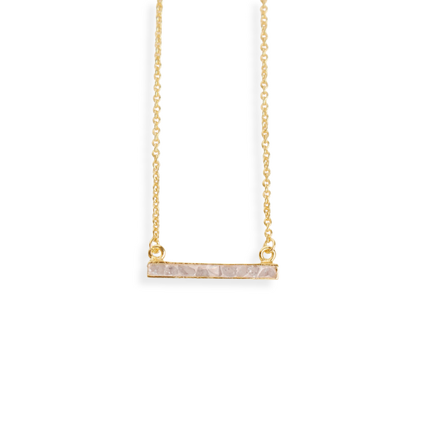 Deco Diamond Bar Necklace - White