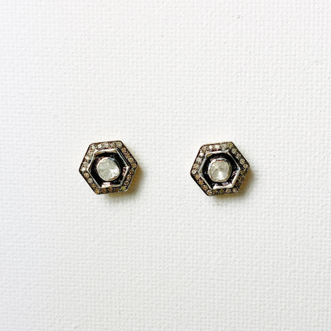Atelier Heirloom Diamond Hexagon Stud Earrings
