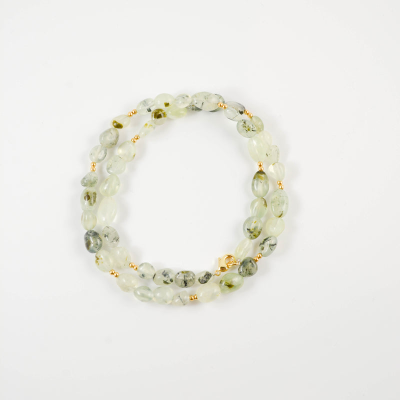 Prehnite Beaded Wrap Bracelet