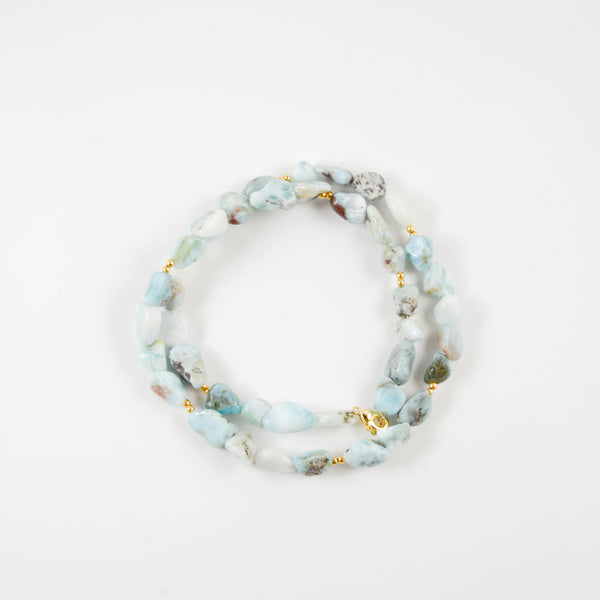 Bleached Turquoise Beaded Wrap Bracelet