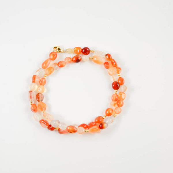 Orange Beaded Wrap Bracelet