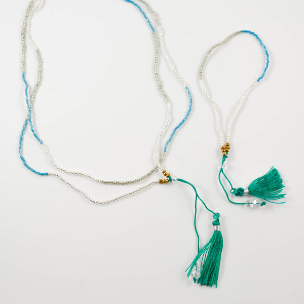 Green Bali Tassel Necklace and Bracelet Set