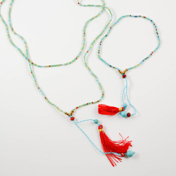 Turquoise Tassel Bali Necklace and Bracelet Set