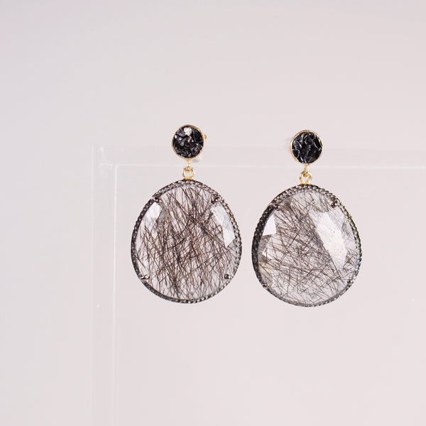 Neena Earrings - Rutilated Quartz