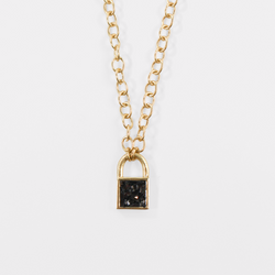 NEW! Deco Diamond Lock and Key Pendant - Black