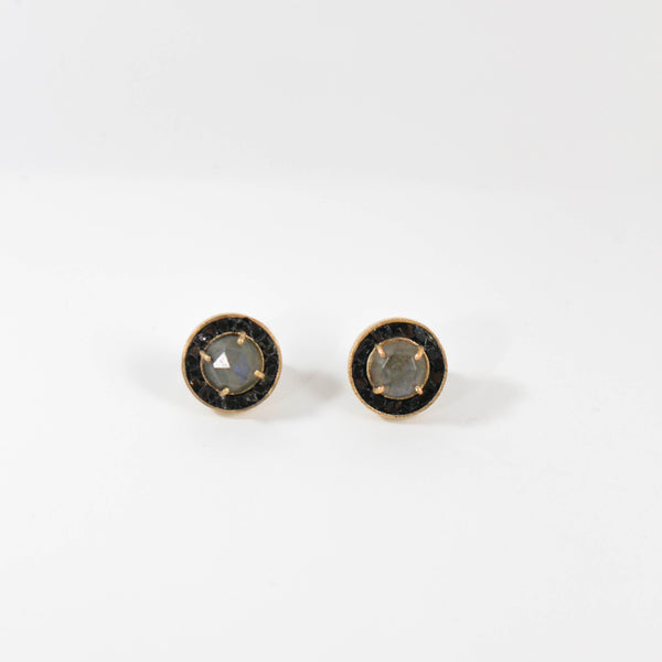 NEW! Dierdre Deco Diamond Stud Earrings - Labradorite