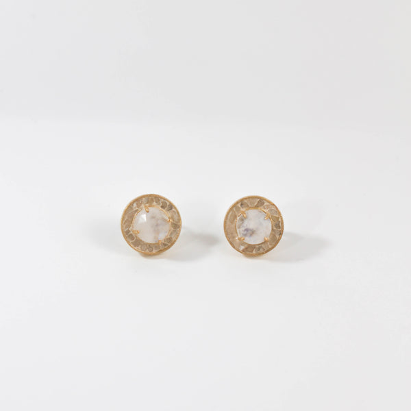 NEW! Dierdre Deco Diamond Stud Earrings - Moonstone