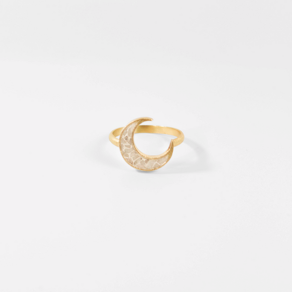 Deco Diamond Crescent Ring - White