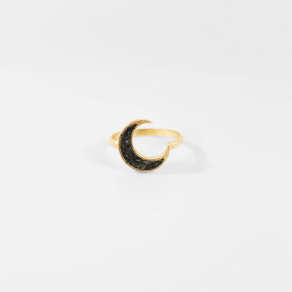 Deco Diamond Crescent Ring - Black
