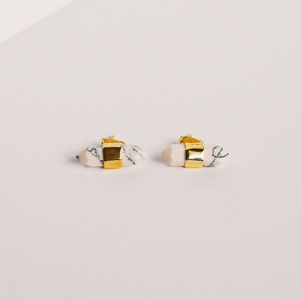 Jasper Stud Earrings - Howlite
