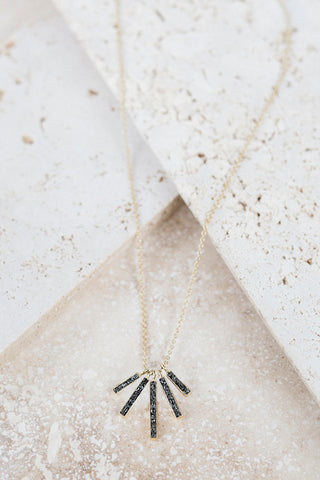 Deco Diamond Fan Necklace