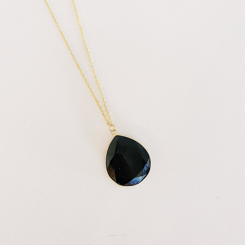 Teardrop Necklace - Black Oynx