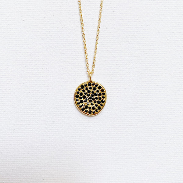 Rosa Pendant Necklace- Black Spinel