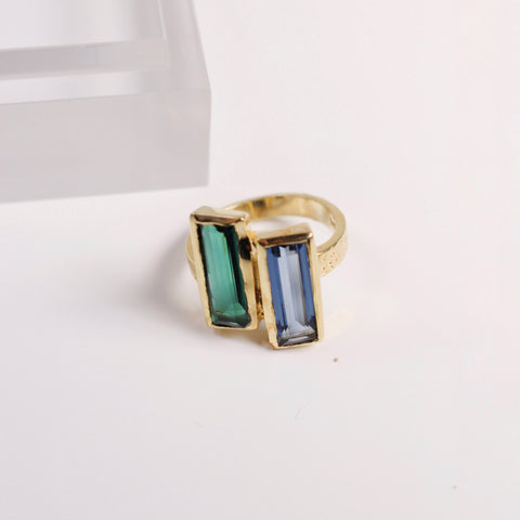 Shale Ring - Blue Iolite / Green Tourmaline