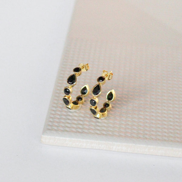 NEW! Daphne Hoop Earrings - Black Onyx
