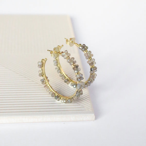 NEW! Megan Hoop Earrings - Labradorite