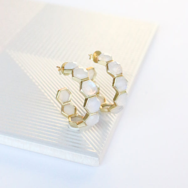 NEW! Honeycomb Hoop Earrings- Moonstone