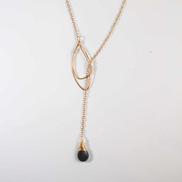 FORAI Labradorite Lariat Necklace