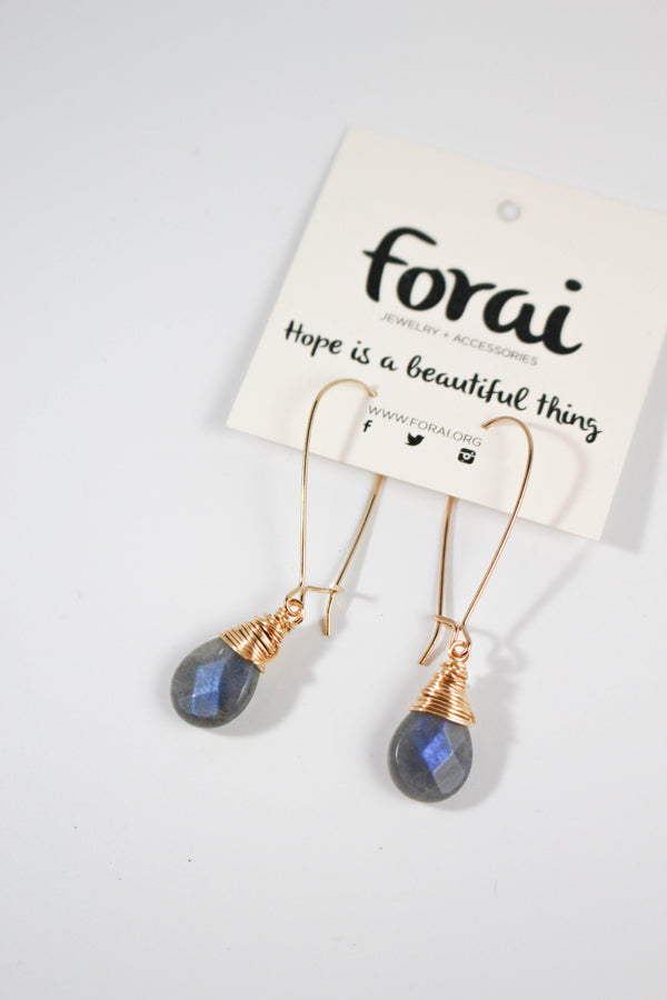 FORAI Labradorite Drop Earrings