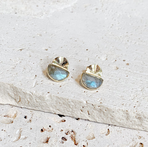 Laine Stud Earrings - Labradorite