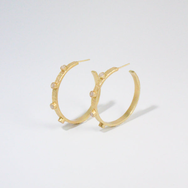 NEW! Deco Diamond Cairo Hoop Earrings - White