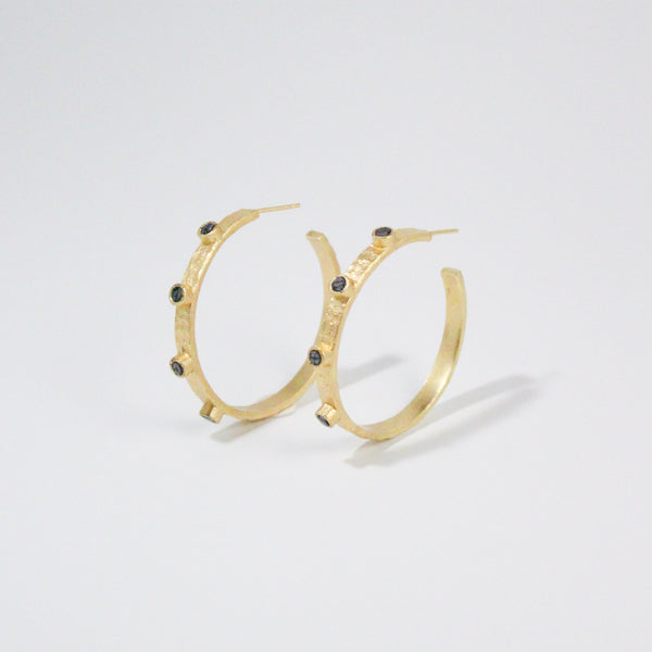 NEW! Deco Diamond Cairo Hoop Earrings - Black