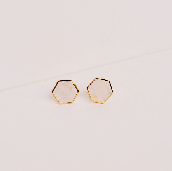 Brooklyn Stud Earrings - Moonstone