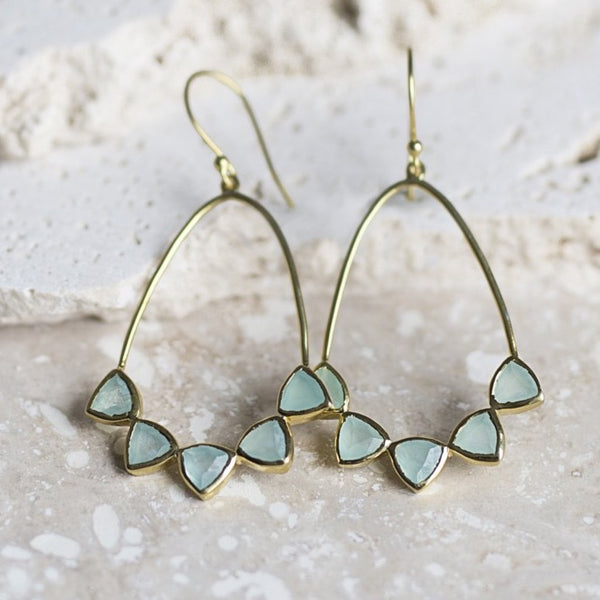Becca Earrings - Aqua Chalcedony