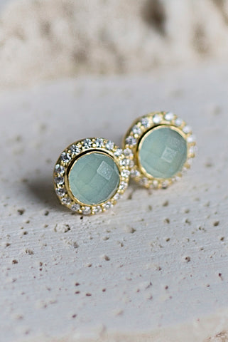 Celebration Stud Earrings- Aqua Chalcedony