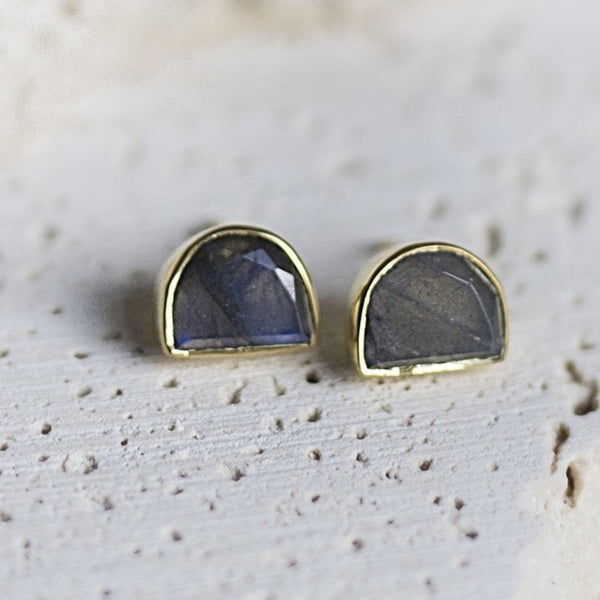Half-Moon Bay Stud Earrings - Labradorite
